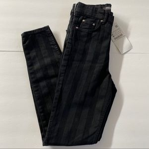 NWT Zara Striped Super Skinny Ankle Length Jeans